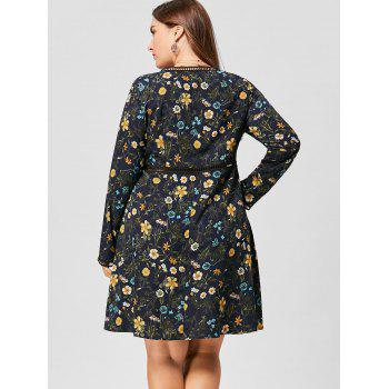 Plus Size V Neck Floral Long Sleeve Dress - PURPLISH BLUE 4XL