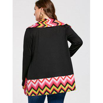 Plus Size Colorful Zig Zag Long Sleeve Cardigan - COLORMIX XL