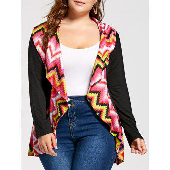 Plus Size Colorful Zig Zag Long Sleeve Cardigan - COLORMIX COLORMIX