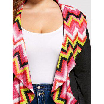 Plus Size Colorful Zig Zag Long Sleeve Cardigan - COLORMIX 2XL