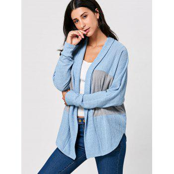 Long Sleeve Open Front Two Tone Cardigan - M M
