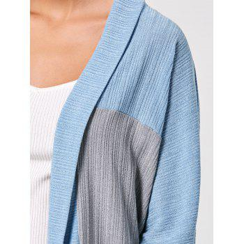 Long Sleeve Open Front Two Tone Cardigan - L L