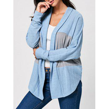 Long Sleeve Open Front Two Tone Cardigan - COLORMIX L