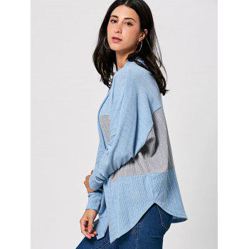 Long Sleeve Open Front Two Tone Cardigan - XL XL