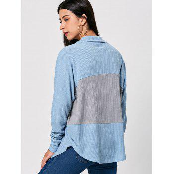 Long Sleeve Open Front Two Tone Cardigan - COLORMIX 2XL