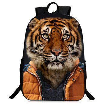 3D Animal Pattern Zipper Backpack - GOLD BROWN GOLD BROWN