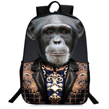3D Animal Pattern Zipper Backpack - GRAY GRAY