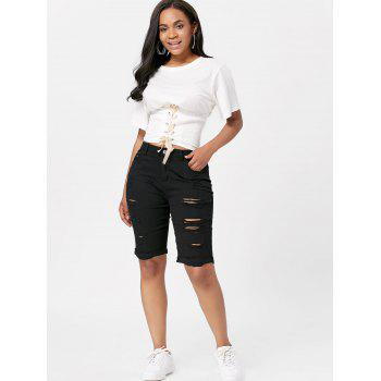 Distressed Bermuda Cuffed Shorts - BLACK BLACK