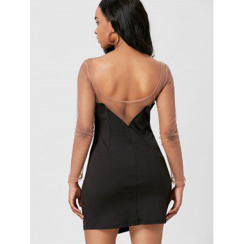 Mesh Insert Mini Long Sleeve Club Dress - BLACK BLACK