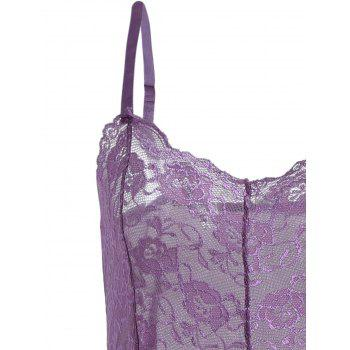 See Through Mesh Cami Dress with Lace - PURPLE PURPLE