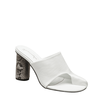 Snake Printed Heel Mules Sandals - WHITE WHITE
