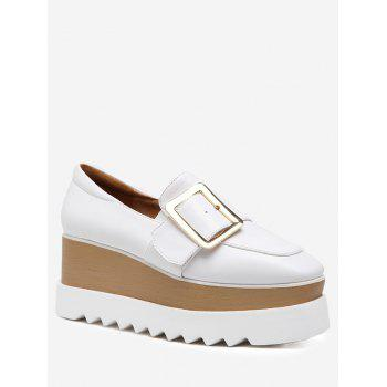 Belt Buckle Faux Leather Wedge Shoes - WHITE WHITE