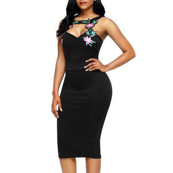 Floral Patched Pencil Dress - BLACK BLACK