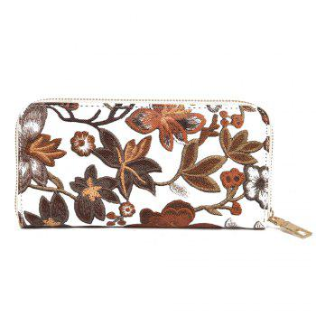 Zip Round Embroidery Clutch Wallet - BROWN BROWN