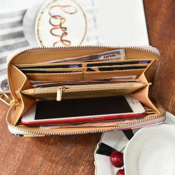 Zip Round Embroidery Clutch Wallet -  BROWN
