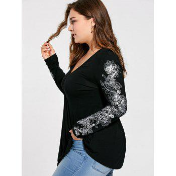 Plus Size Floral Pattern Long Sleeve Draped T-shirt - BLACK 5XL