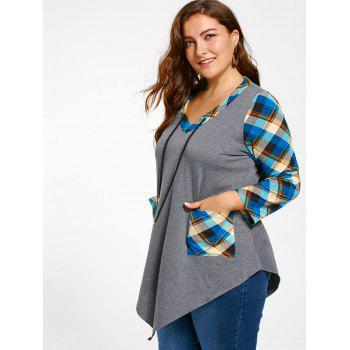 Plus Size Long Sleeve Asymmetrical Tartan T-shirt - GRAY/BLUE XL