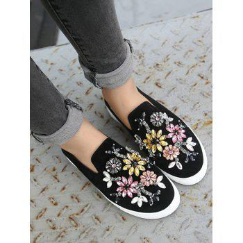 Rhinestone Suede Slip On Flat Shoes - BLACK 37
