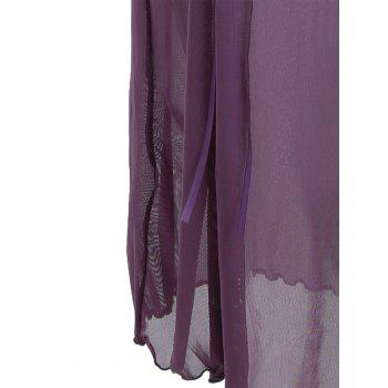 See Through Mesh Cami Dress with Lace - PURPLE XL