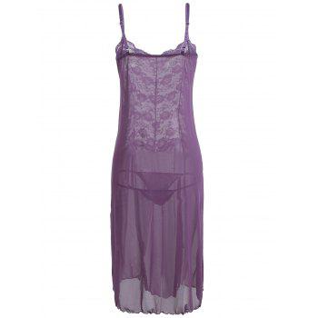 Voir à travers Mesh Cami Dress with Lace - Pourpre M