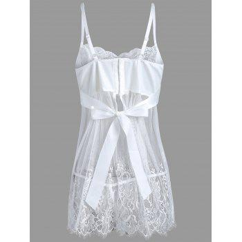 Mesh Fishnet Cami Babydoll with Bowknot - WHITE M
