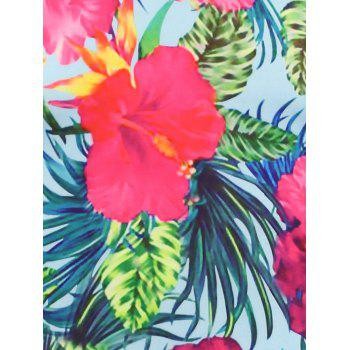 Hawaiian 3D Flowers Print T-shirt - LIGHT BLUE XL