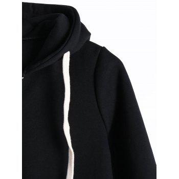 Drawstring Kangaroo Pocket Long Zipper Up Hoodie - BLACK 2XL