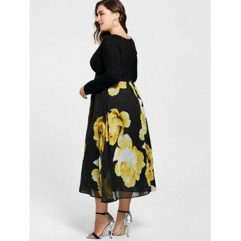 Plus Size Floral Print Empire Waist Midi Dress - YELLOW 5XL
