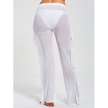 Ruffled Mesh See Through Cover Up Pants - WHITE M