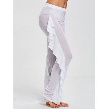 Ruffled Mesh See Through Cover Up Pants - WHITE L