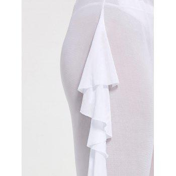 Ruffled Mesh See Through Cover Up Pants - WHITE XL