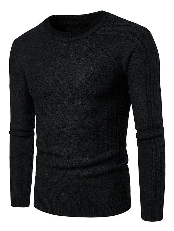 Geometric Ribbed Raglan Sleeve Sweater