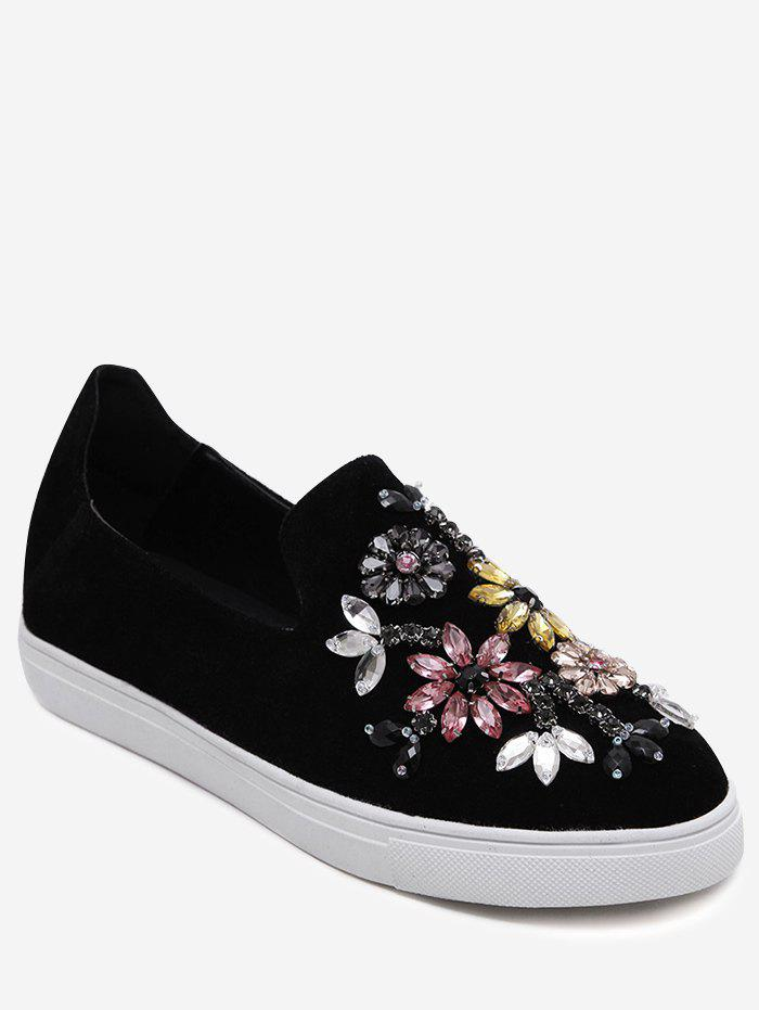 Dresslily Rhinestone Suede Slip On Flat Shoes