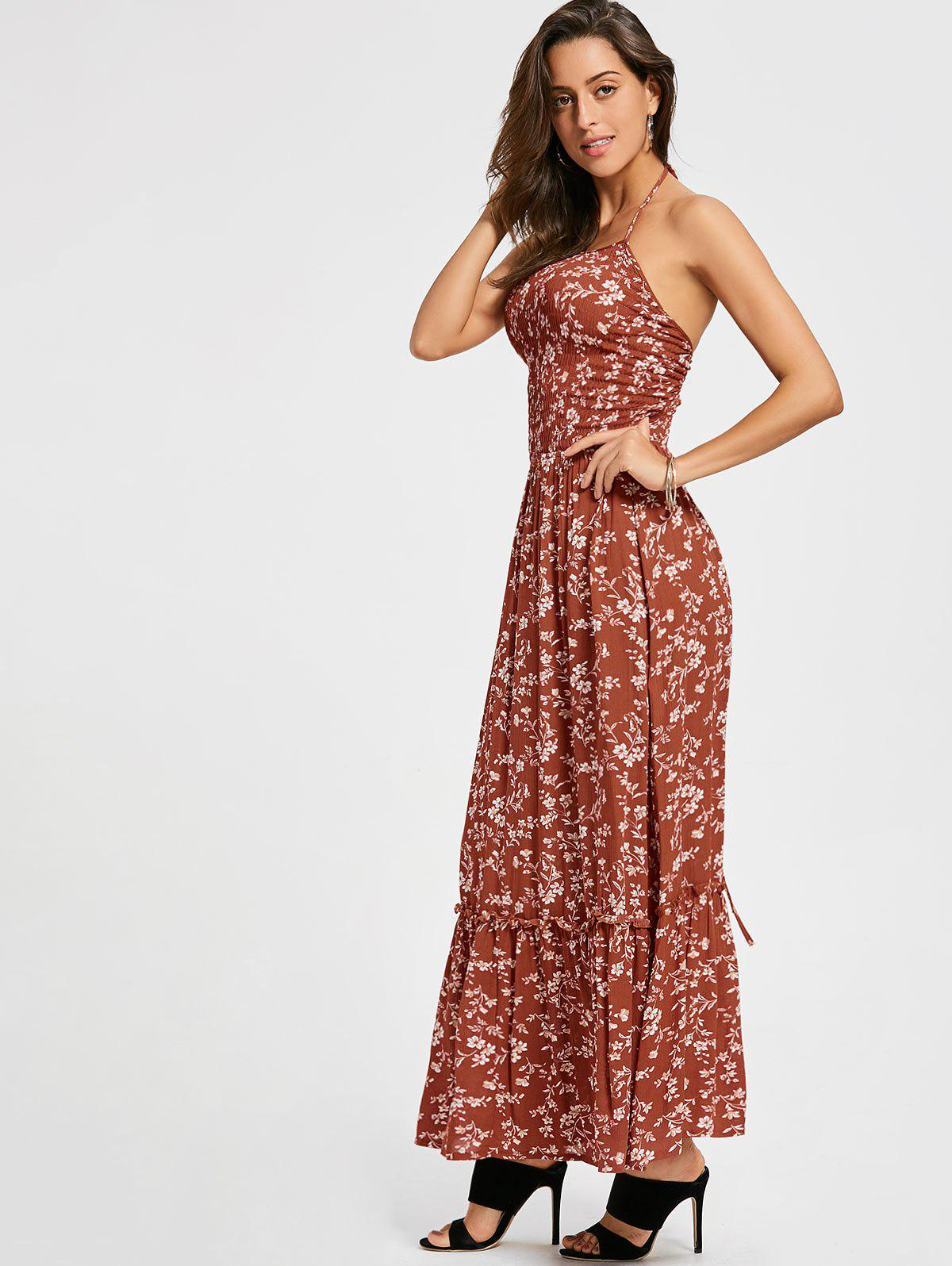 Back Lace Up Floral Maxi Halter Sundress - Rouge XL