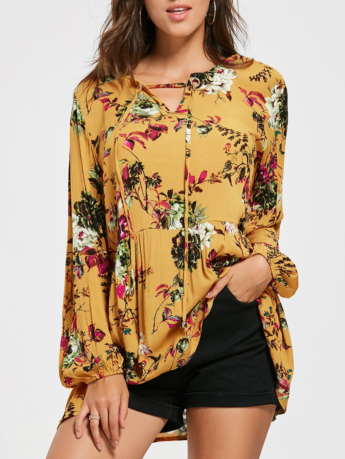 Eyelet Floral Printed Tunic Blouse - YELLOW S