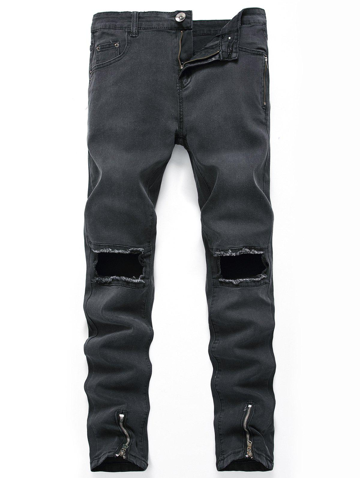 Hollow Zippers Design Straight Leg Ripped Jeans - BLACK 30