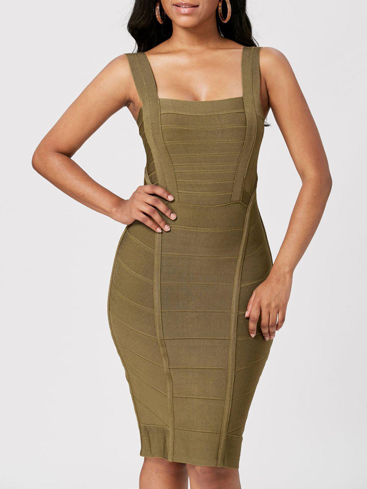 Criss Cross Back Night Out Bandage Dress - GREEN L