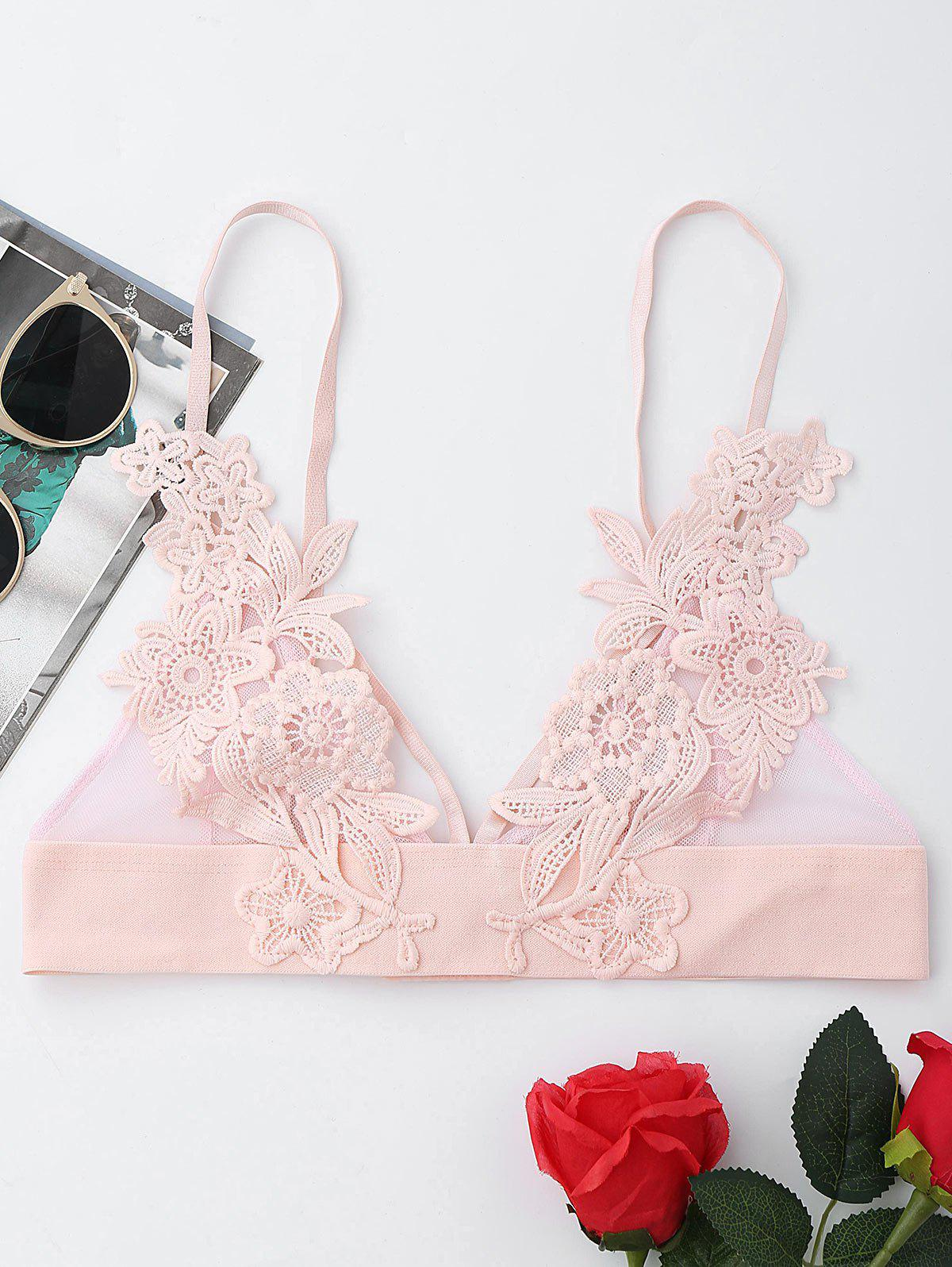 Applique Triangle Mesh Bralette - PINK M