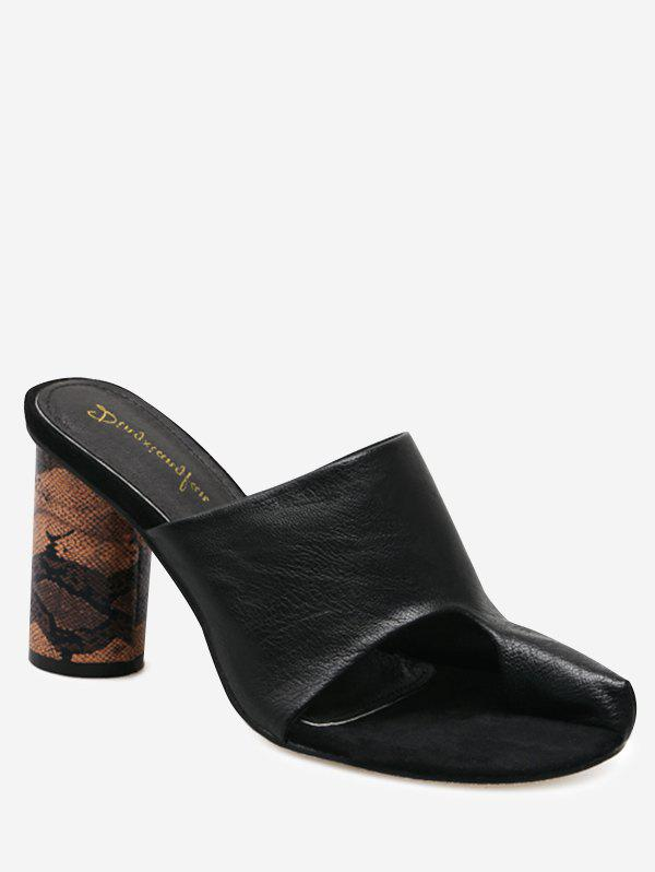 Snake Printed Heel Mules Sandals - BLACK 37