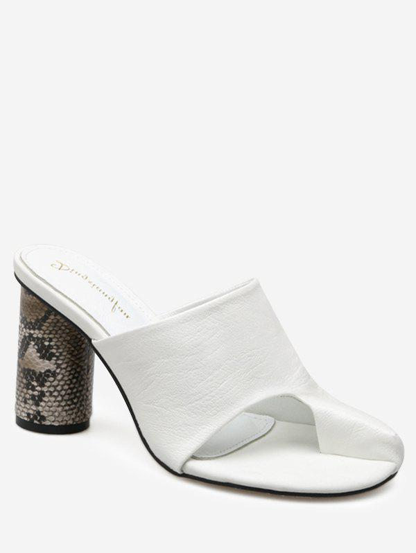 Snake Printed Heel Mules Sandals - WHITE 38