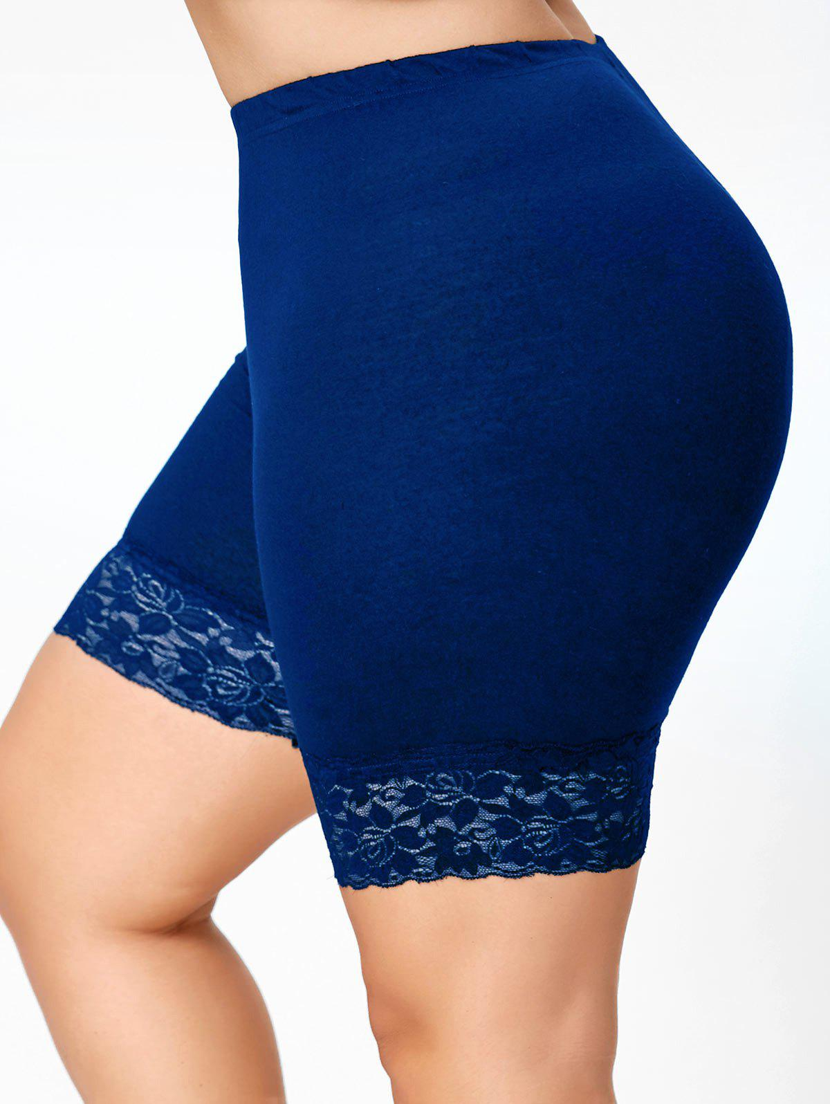 Plus Size Lace Insert Short Leggings plus size lace insert short leggings