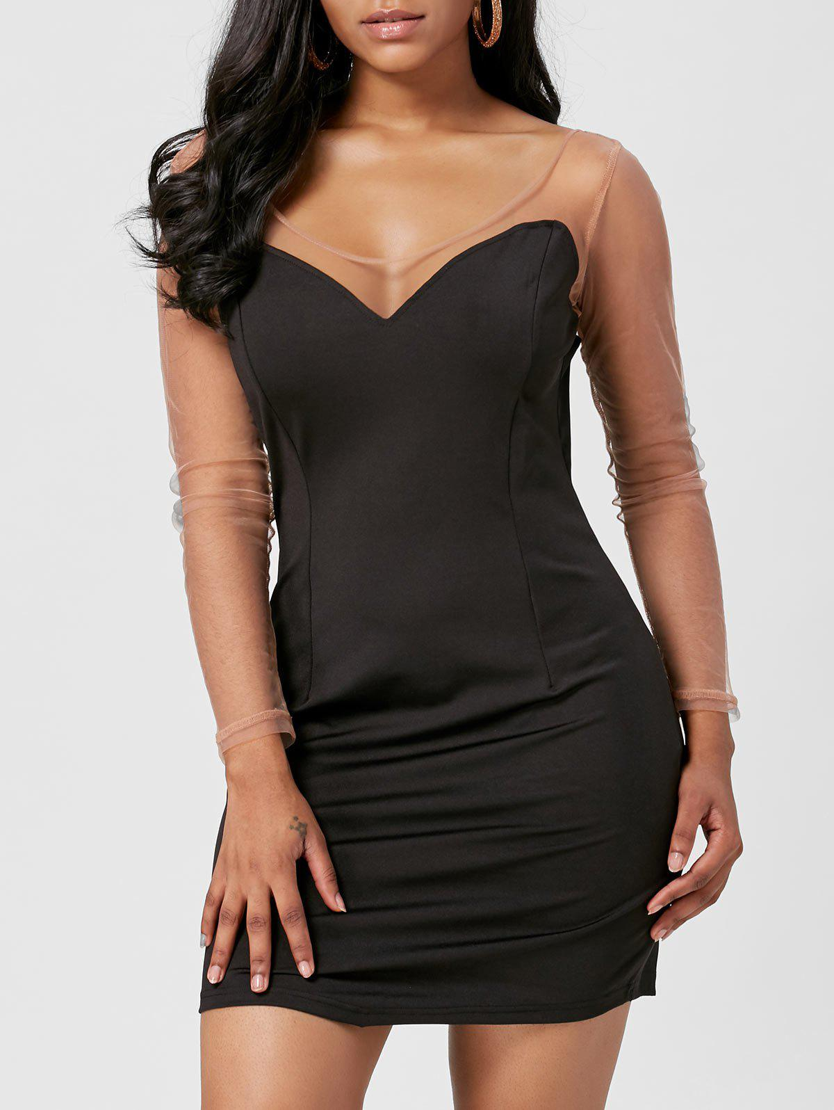 Mesh Insert Mini Long Sleeve Club Dress - BLACK L