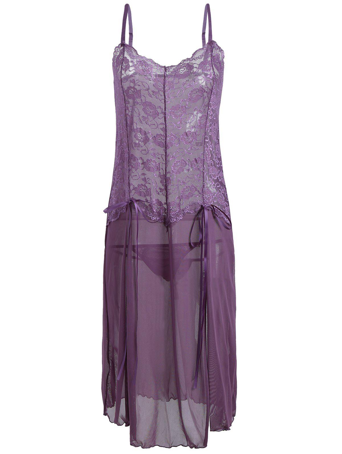 Voir à travers Mesh Cami Dress with Lace - Pourpre L