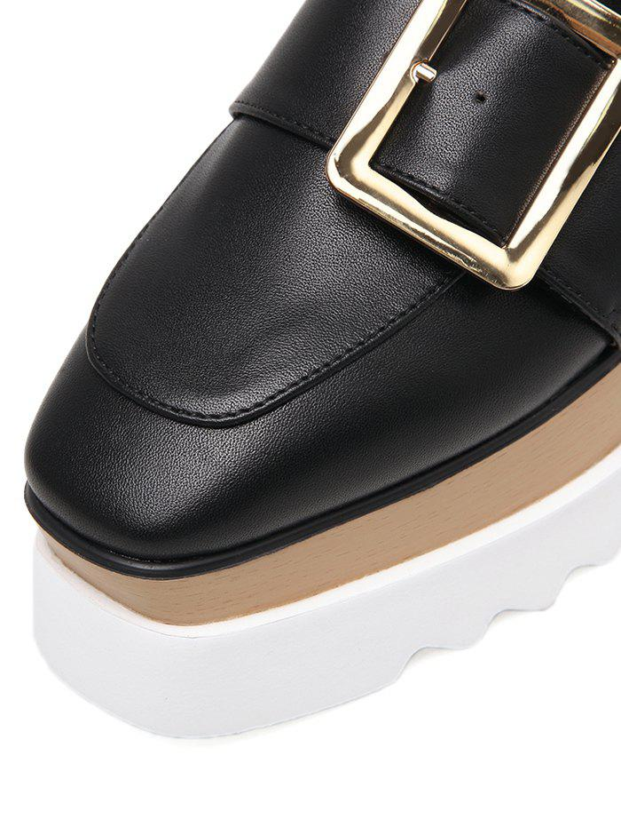 Belt Buckle Faux Leather Wedge Shoes - BLACK 37