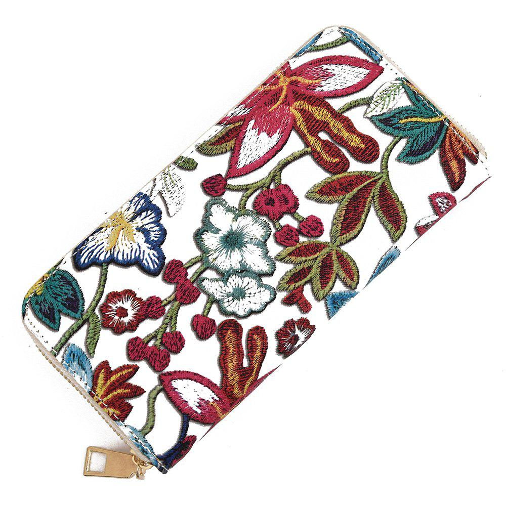 Zip Round Embroidery Clutch Wallet - RED