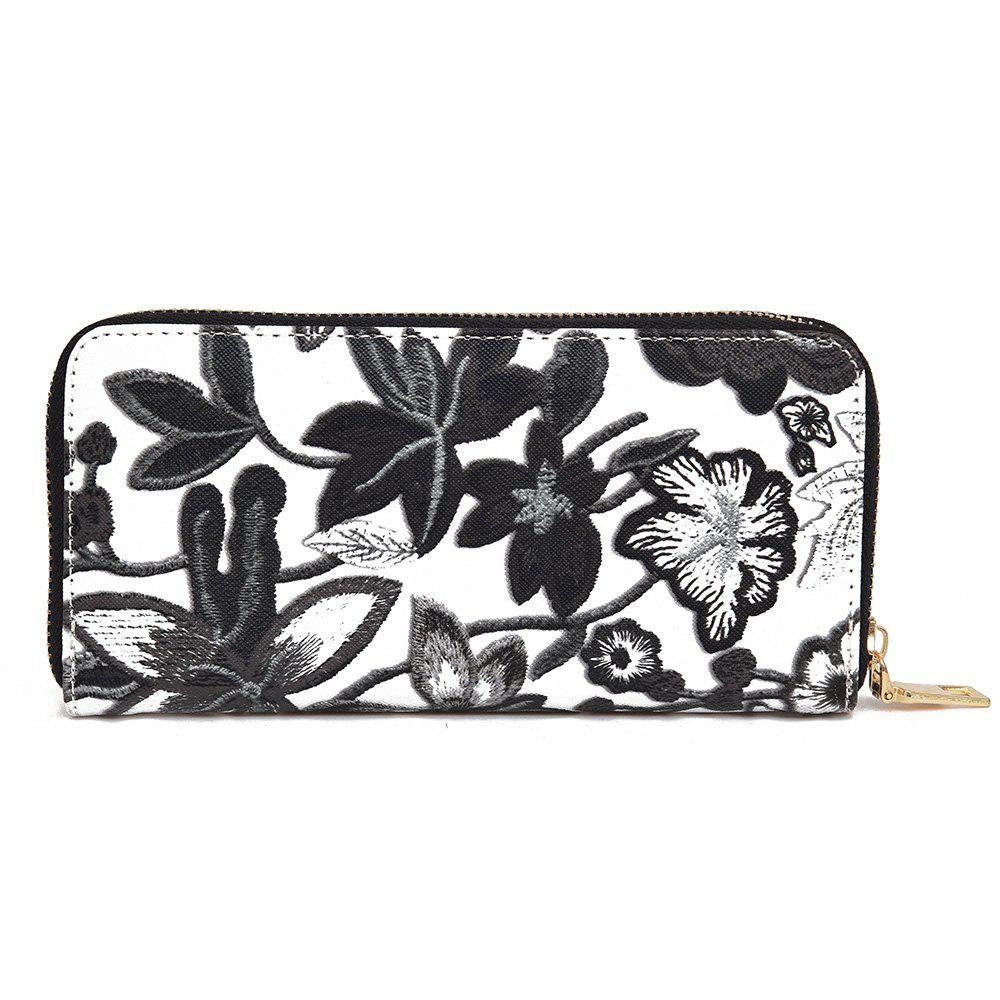 Zip Round Embroidery Clutch Wallet - BLACK