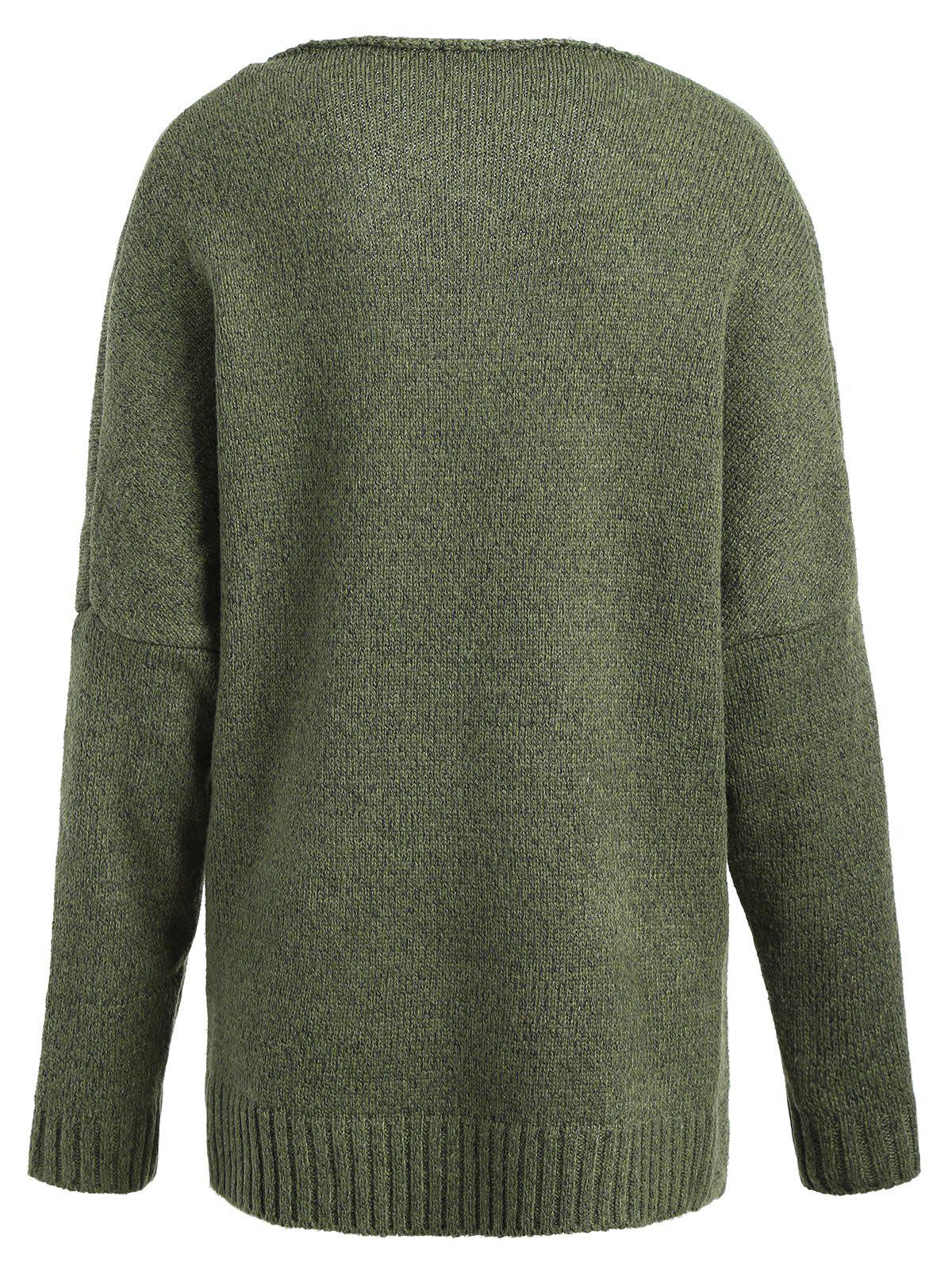 Plus Size Surplice Drop Shoulder Sweater - ARMY GREEN ONE SIZE