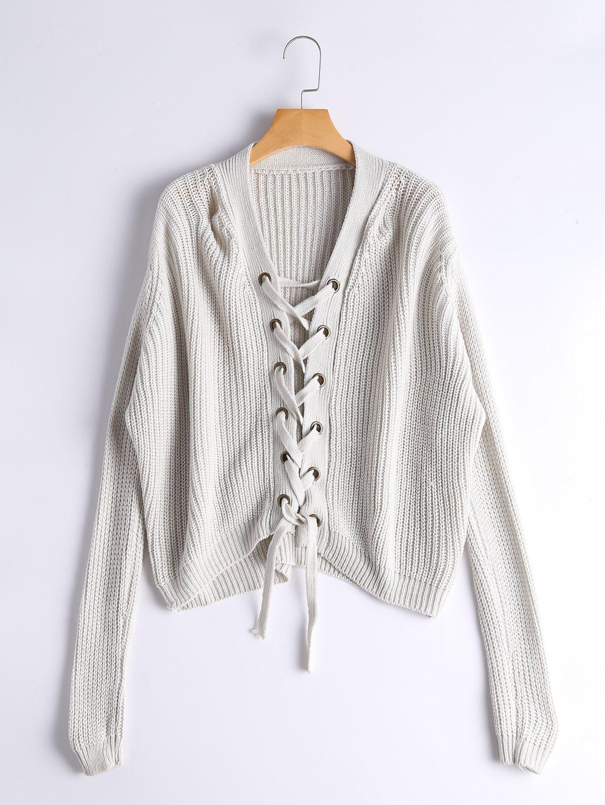 Lace Up Ribbed Chunky Sweater - GRAY WHITE CAMOUFLAGE ONE SIZE