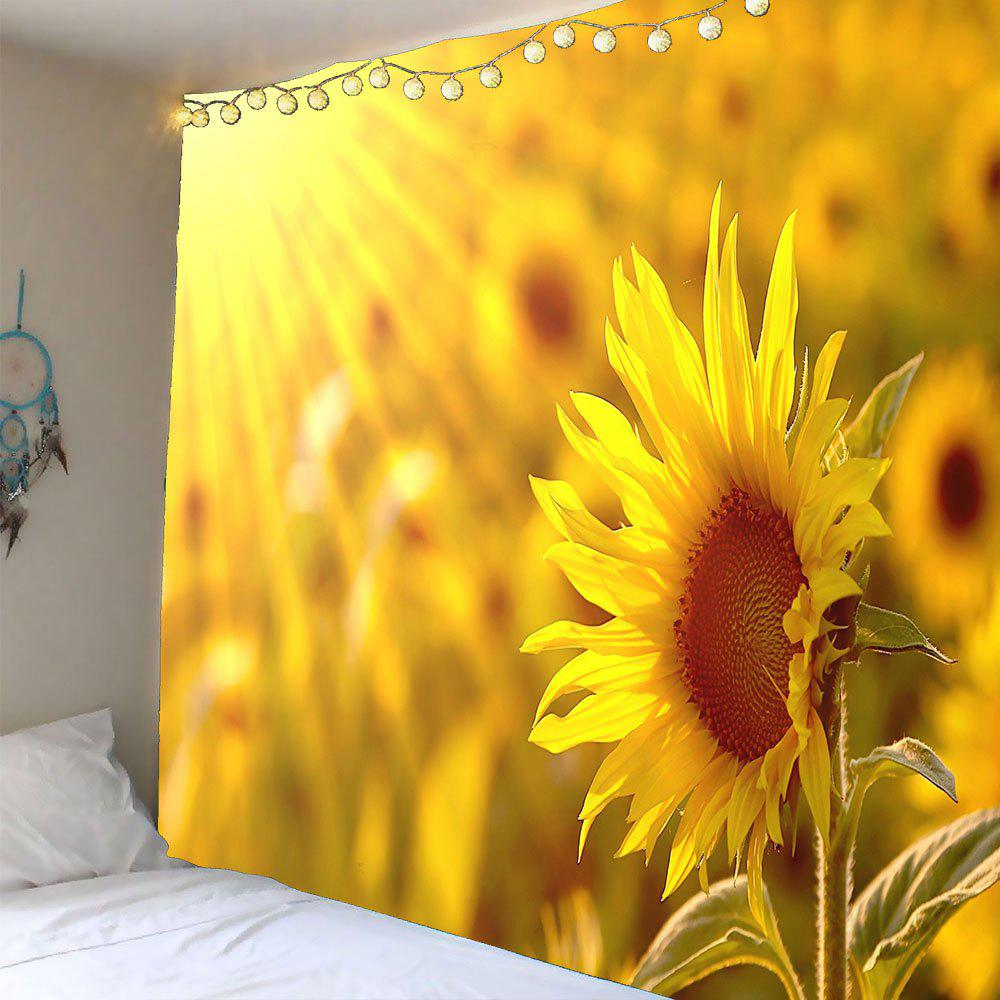 2018 Sunflower Printed Waterproof Wall Art Tapestry YELLOW W INCH L ...