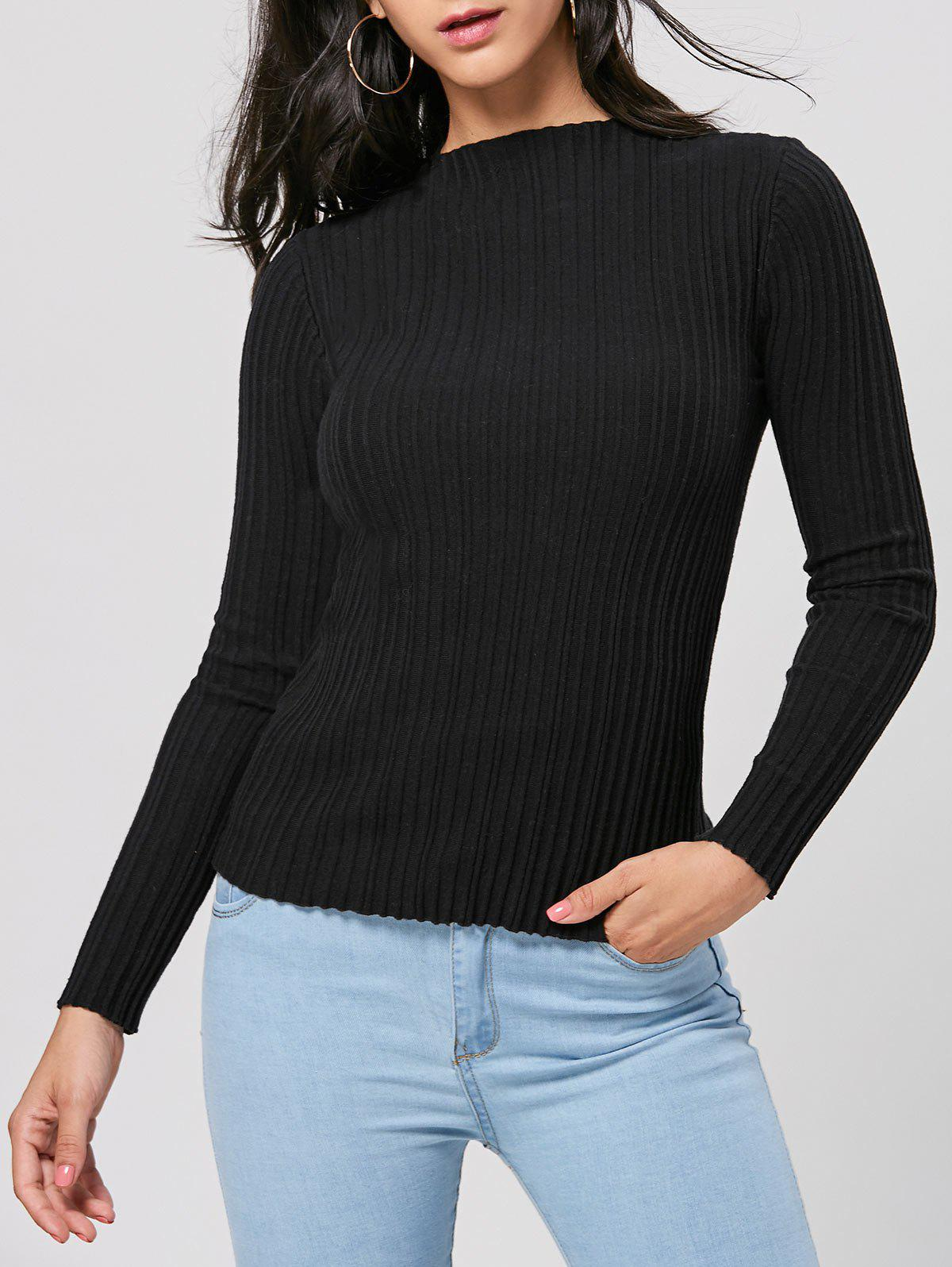 Long Sleeve Pullover Ribbed Sweater 222138905